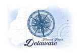 Fenwick Island, Delaware - Compass - Blue - Coastal Icon Posters by  Lantern Press