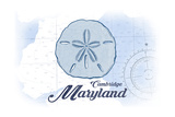 Cambridge, Maryland - Sand Dollar - Blue - Coastal Icon Posters by  Lantern Press