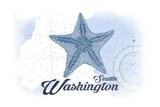 Seattle, Washington - Starfish - Blue - Coastal Icon Posters by  Lantern Press