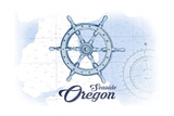Seaside, Oregon - Ship Wheel - Blue - Coastal Icon Art by  Lantern Press