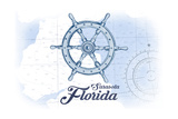 Sarasota, Florida - Ship Wheel - Blue - Coastal Icon Prints by  Lantern Press