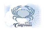 Ventura, California - Crab - Blue - Coastal Icon Prints by  Lantern Press
