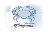 Long Beach, California - Crab - Blue - Coastal Icon Posters by  Lantern Press