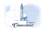 Bridgeport, Connecticut - Lighthouse - Blue - Coastal Icon Posters by  Lantern Press