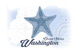 Ocean Shores, Washington - Starfish - Blue - Coastal Icon Posters by  Lantern Press