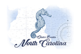 Outer Banks, North Carolina - Seahorse - Blue - Coastal Icon Print by  Lantern Press