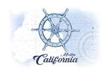 Malibu, California - Ship Wheel - Blue - Coastal Icon Art by  Lantern Press