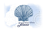 Corpus Christi, Texas - Scallop Shell - Blue - Coastal Icon Prints by  Lantern Press