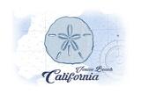 Venice Beach, California - Sand Dollar - Blue - Coastal Icon Print by  Lantern Press
