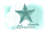 Ocean City, Maryland - Starfish - Teal - Coastal Icon Prints by  Lantern Press
