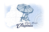 Virginia Beach, Virginia - Beach Chair and Umbrella - Blue - Coastal Icon Art by  Lantern Press