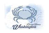 Ocean Shores, Washington - Crab - Blue - Coastal Icon Poster by  Lantern Press