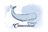 Bridgeport, Connecticut - Whale - Blue - Coastal Icon Prints by  Lantern Press
