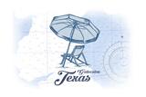 Galveston, Texas - Beach Chair and Umbrella - Blue - Coastal Icon Posters by  Lantern Press