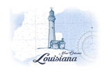 New Orleans, Louisiana - Lighthouse - Blue - Coastal Icon Posters by  Lantern Press