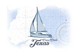 Corpus Christi, Texas - Sailboat - Blue - Coastal Icon Art by  Lantern Press