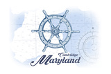 Cambridge, Maryland - Ship Wheel - Blue - Coastal Icon Prints by  Lantern Press