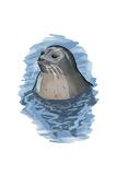 Harbor Seal - Icon Poster af Lantern Press