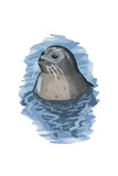 Harbor Seal - Icon Poster by  Lantern Press