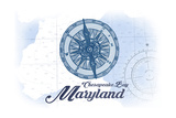 Chesapeake Bay, Maryland - Compass - Blue - Coastal Icon Posters by  Lantern Press