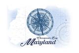 Chesapeake Bay, Maryland - Compass - Blue - Coastal Icon Posters by  Lantern Press