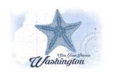 San Juan Islands, Washington - Starfish - Blue - Coastal Icon Posters by  Lantern Press