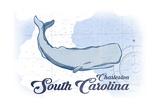 Charleston, South Carolina - Whale - Blue - Coastal Icon Poster by  Lantern Press