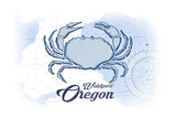 Waldport, Oregon - Crab - Blue - Coastal Icon Prints by  Lantern Press