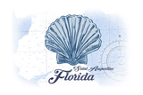Saint Augustine, Florida - Scallop Shell - Blue - Coastal Icon Prints by  Lantern Press