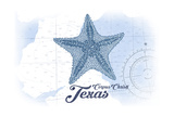 Corpus Christi, Texas - Starfish - Blue - Coastal Icon Posters by  Lantern Press