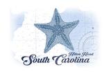 Hilton Head, South Carolina - Starfish - Blue - Coastal Icon Prints by  Lantern Press
