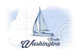 Seattle, Washington - Sailboat - Blue - Coastal Icon Print by  Lantern Press