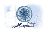Baltimore, Maryland - Compass - Blue - Coastal Icon Poster by  Lantern Press