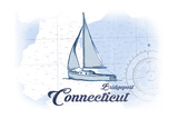 Bridgeport, Connecticut - Sailboat - Blue - Coastal Icon Prints by  Lantern Press