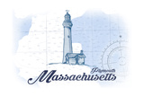Plymouth, Massachusetts - Lighthouse - Blue - Coastal Icon Poster by  Lantern Press