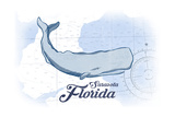 Sarasota, Florida - Whale - Blue - Coastal Icon Art by  Lantern Press