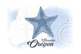 Seaside, Oregon - Starfish - Blue - Coastal Icon Posters by  Lantern Press