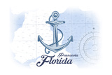 Pensacola, Florida - Anchor - Blue - Coastal Icon Prints by  Lantern Press