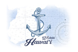 Waikiki, Hawaii - Anchor - Blue - Coastal Icon Poster by  Lantern Press