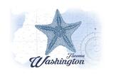 Tacoma, Washington - Starfish - Blue - Coastal Icon Poster by  Lantern Press