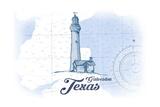 Galveston, Texas - Lighthouse - Blue - Coastal Icon Posters by  Lantern Press