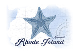 Newport, Rhode Island - Starfish - Blue - Coastal Icon Posters by  Lantern Press