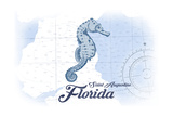 Saint Augustine, Florida - Seahorse - Blue - Coastal Icon Print by  Lantern Press