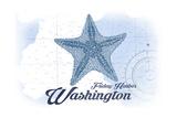 Friday Harbor, Washington - Starfish - Blue - Coastal Icon Prints by  Lantern Press