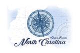 Outer Banks, North Carolina - Compass - Blue - Coastal Icon Posters by  Lantern Press