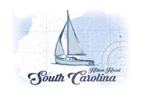 Hilton Head, South Carolina - Sailboat - Blue - Coastal Icon Posters by  Lantern Press