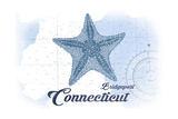 Bridgeport, Connecticut - Starfish - Blue - Coastal Icon Poster by  Lantern Press