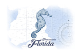 Pensacola, Florida - Seahorse - Blue - Coastal Icon Poster by  Lantern Press