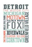 Detroit, Michigan - Typography Posters by  Lantern Press