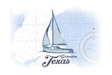 Galveston, Texas - Sailboat - Blue - Coastal Icon Prints by  Lantern Press